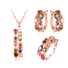 LZESHINE Unique Ladies Multicolor Cubic Zirconia Gold Plated new fashion Wedding Jewelry Set CST0030-A