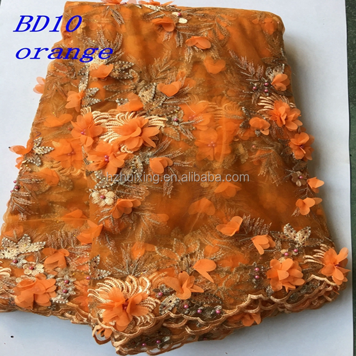 Handmade embroidery beaded bridal lace fabric orange beaded sequined lace fabric wholesale BD10
