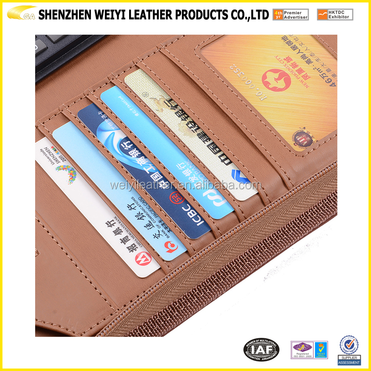 China manufacturer multi-pocket a4 size file folder leather with power bank