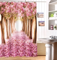 European And North America Popular Style With Scenery Digital Waterproof Mildew Proof 3D Printing 100% Polyester Shower Curtain