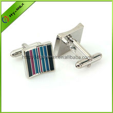 recessed square zinc alloy silver plating cufflinks