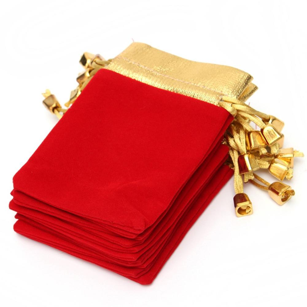 Hot sale 10PCS Golden Red Velvet Drawstring Pouch Jewelry Gift Bags Pouch with Logo Printing