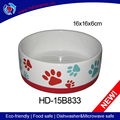 Ceramic dog food bowl with round rubber on bottom