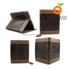 12.9 inch good quility 100% genuine top leather buffalo vintage leather with flip cover case for Ipad Pro