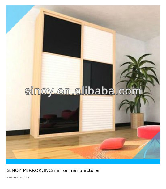 SINOY soft white and classic black decorative wardrobe painted glass