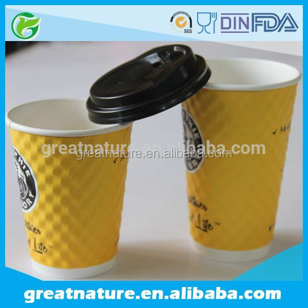 Logo paper coffee cups with lids