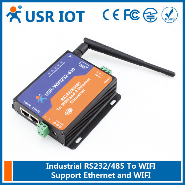 USR-WIFI232-630 RS232 RS485 to Wifi/Ethernet Converter,Wifi Serial Server with 2 RJ45 Support Router/Bridge Mode Networking