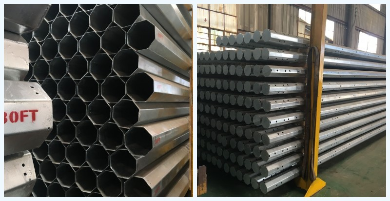 Galvanized electric power steel pole for transmission tower
