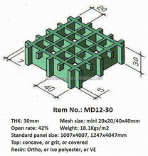 Fiberglass frp handrail walkway grating 30 thickness mini mesh 20x20 40x40mm