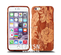 Beautiful Flowers Style With Natural Wood For Iphone Case With Mirror