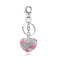 2018 Newly designed Rhinestone heart shape key chain gifts for girls lovely custom metal keyrings