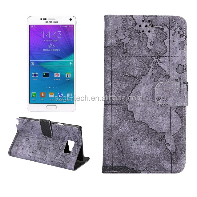 Magnetic Flip Leather Case For Samsung Galaxy Note5, for note 5 world map pattern
