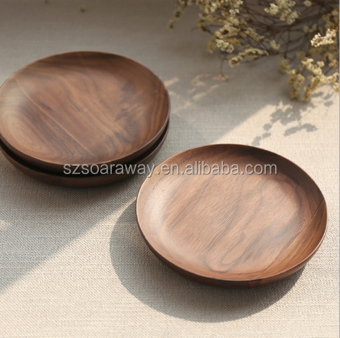 Round shape wooden serving tray made in china