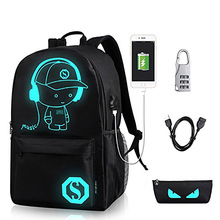 Costom Printed Luminous Backpack with USB Charging Port and Lock