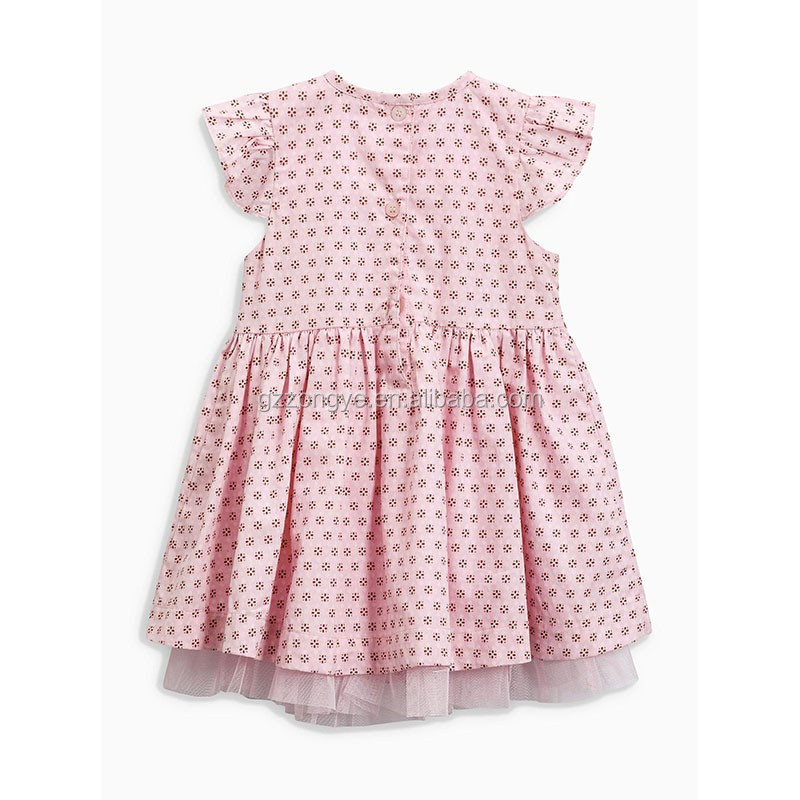 Hot sell summer Pink Print ready made kids dress