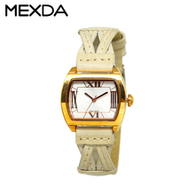 Ladies fashion leather luxury quartz watches square case wristwatches cross leather strap