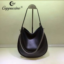 2018 Cappuccino Ladies Studded Metal Strap Round Satchel Bag