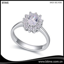 Hot Sale 925 Sterling Silver Crystal flower CZ Stone Ring