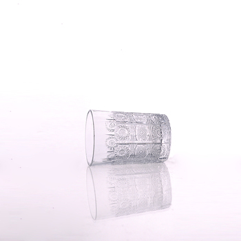 7oz Embossed Flower Design Engraved Glass Drinking Cup