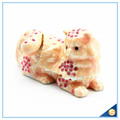 Yellow And Pink Cat Shape Crystal Trinket Box SCJ602