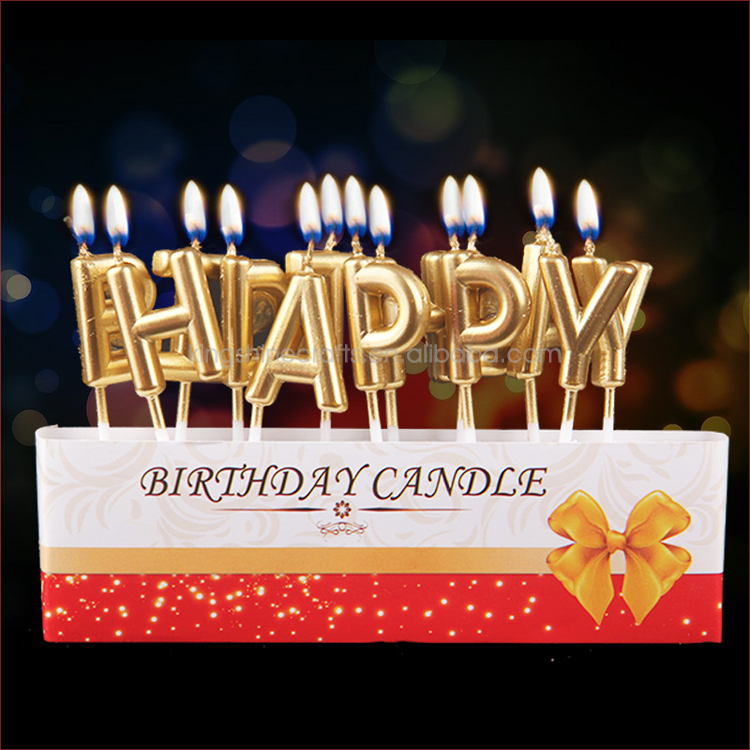 2018 Gold Happy Birthday Cake Candles For Kids