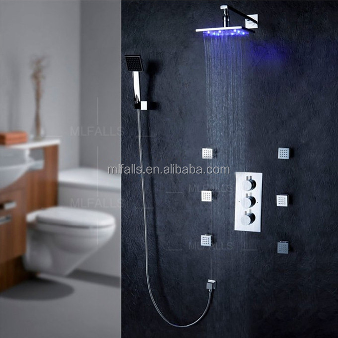 Factory Price LED Concealed Thermostatic Shower Faucet Concealed Faucet System with Jets MLFALLS
