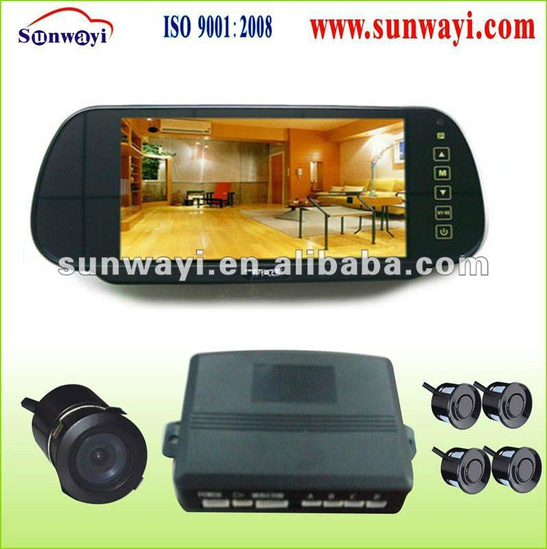 Visual rearview mirror with parking sensor