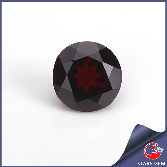 round machine cut red natural loose gemstones natural garnet wholesale