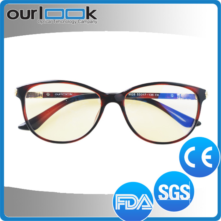 Fashion Black Color TR90 Frame Cut Blue Ray Optical Glasses Proveedor China