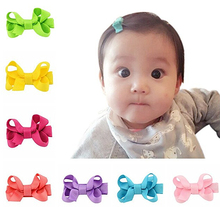 "Boutique baby girls 2"" pink bows hair extension clip 100% human"
