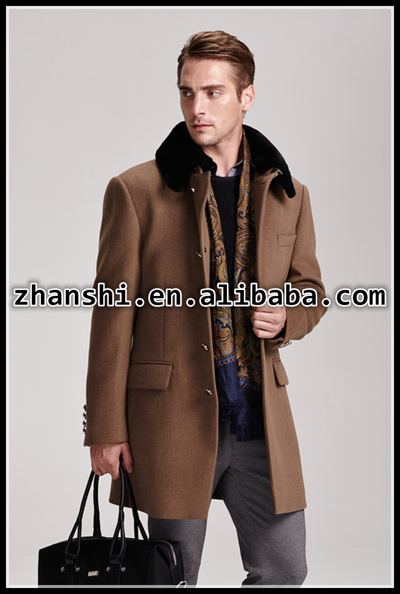 Cashmere Mens 100% wool black fur collar Coat for winter