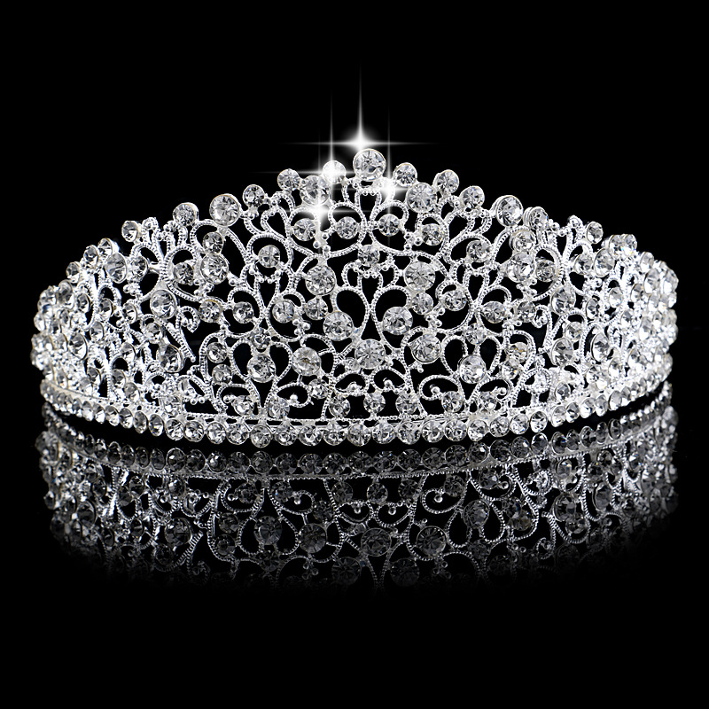 Luxury Silver Large Wedding princess Crystal Crown Hairpins Tiara Headband Full Crystal Crown Headwear For Bride Hair Jewelry