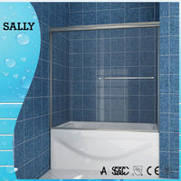 B020 Clear tempered glass bath shower screen