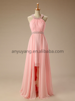 EPM0065-2015 Popular Hot-Selling Elegant Halter Neckline Beaded Baby Pink High-Low Evening Dress