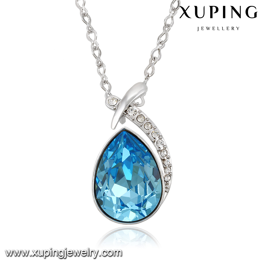 43127-new arrival xuping fashion lovely jewelry ,big blue color crystals from Swarovski necklace for Chrismas gift