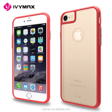 2017 IVYMAX New arrival Transparent Clear TPU Dual color Gel case for iphone 7, For iphone7 Moble phone hybrid case