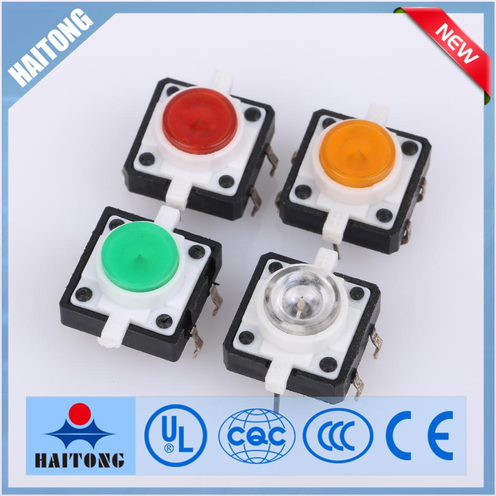 12x12mm illuminated tactile switch 12v tact switch with LED light tact switch