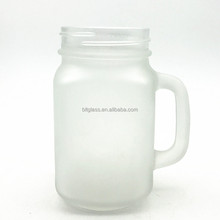 480ml 16oz frosted glass mason jar with handle and straw