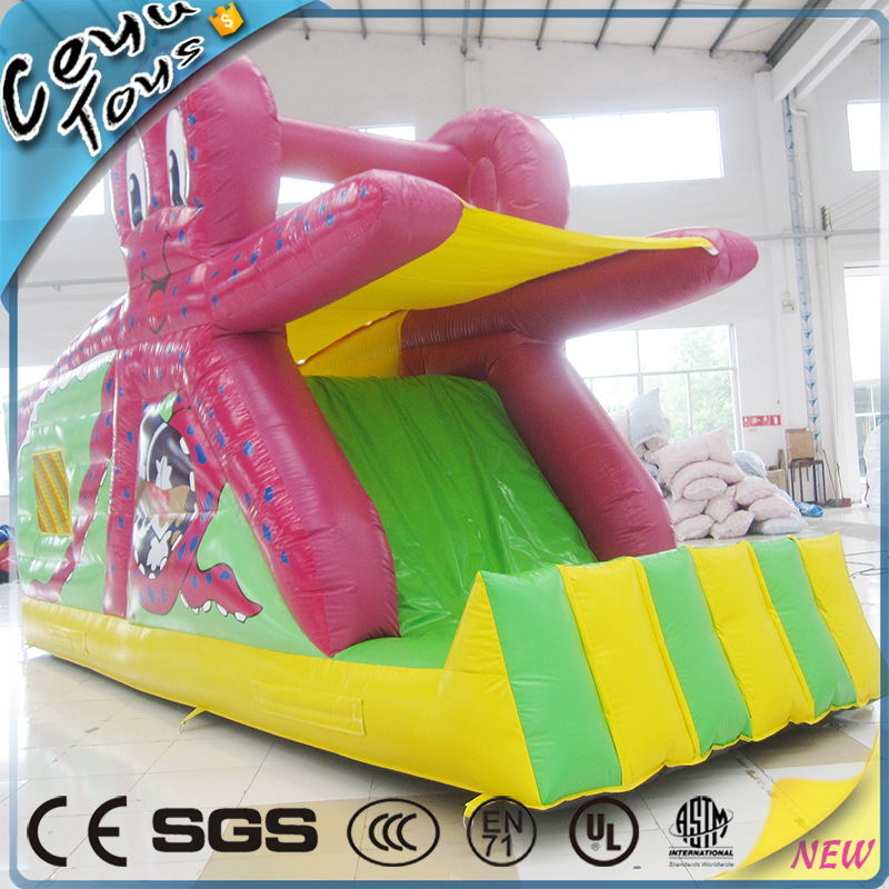 Small outdoor red octopus inflatable slide for children