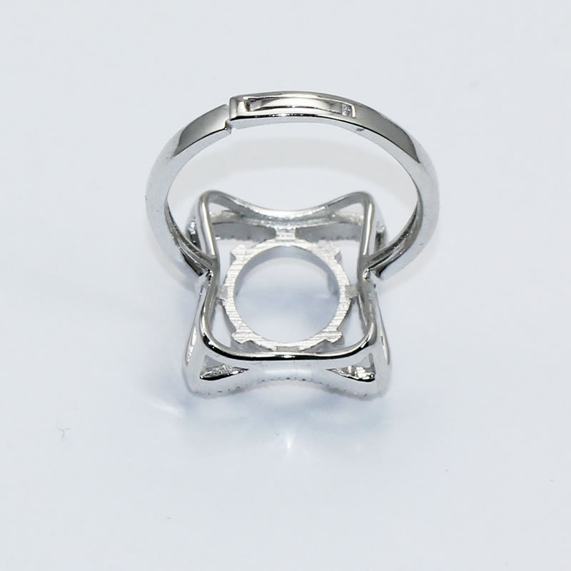 Beadsnice ID30642 925 sterling silver sets adjustable US size 7 to 9 14.5x12.5x2.8mm sold by PC finger ring findings