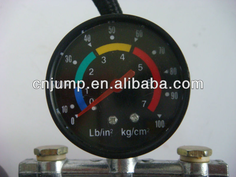 Double tube tire foot pump with pressure gauge