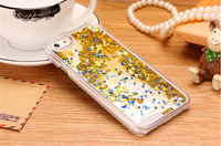Top Sales Fashion Glitter Star Dynamic Liquid Back Case cover for iphone 5 Cute phone cases Wholesale/Retail