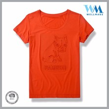3D-effect unisex best selling 100% polyester orange shirt