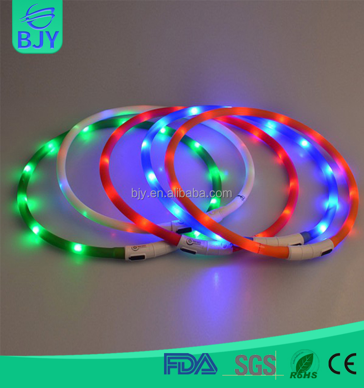 Wholesale USB Rechargeable LED Flashing Dog Collar For Dog Safety
