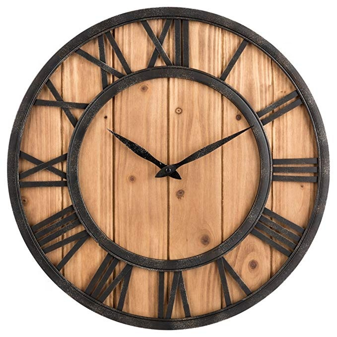 Vintage Style Brief Metal Solid Wood Noiseless Wall Clock Black Brown