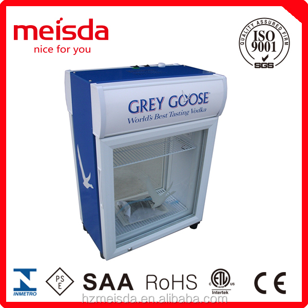 Front and back Door Open Beverage Cooler Small Display <strong>refrigerator</strong>