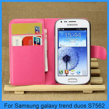 Lychee pattern Flip leather wallet case for Samsung galaxy trend duos S7562(PT-L1S7562)