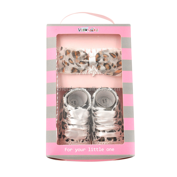 fashion leopard kids shoes 2pcs/lot baby shoes with matching hair accessories