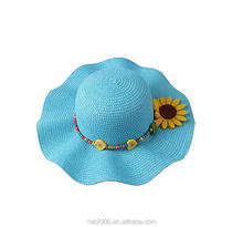 Summer straw beach sun Hat for little girls