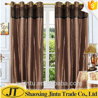 Modern design flocked 100% polyester ready made curtain for living room or bedroom